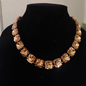 Vintage glass faceted rhinestone necklace heavy